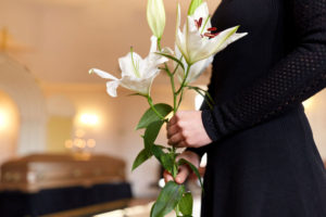 funeral ceremony with flowers